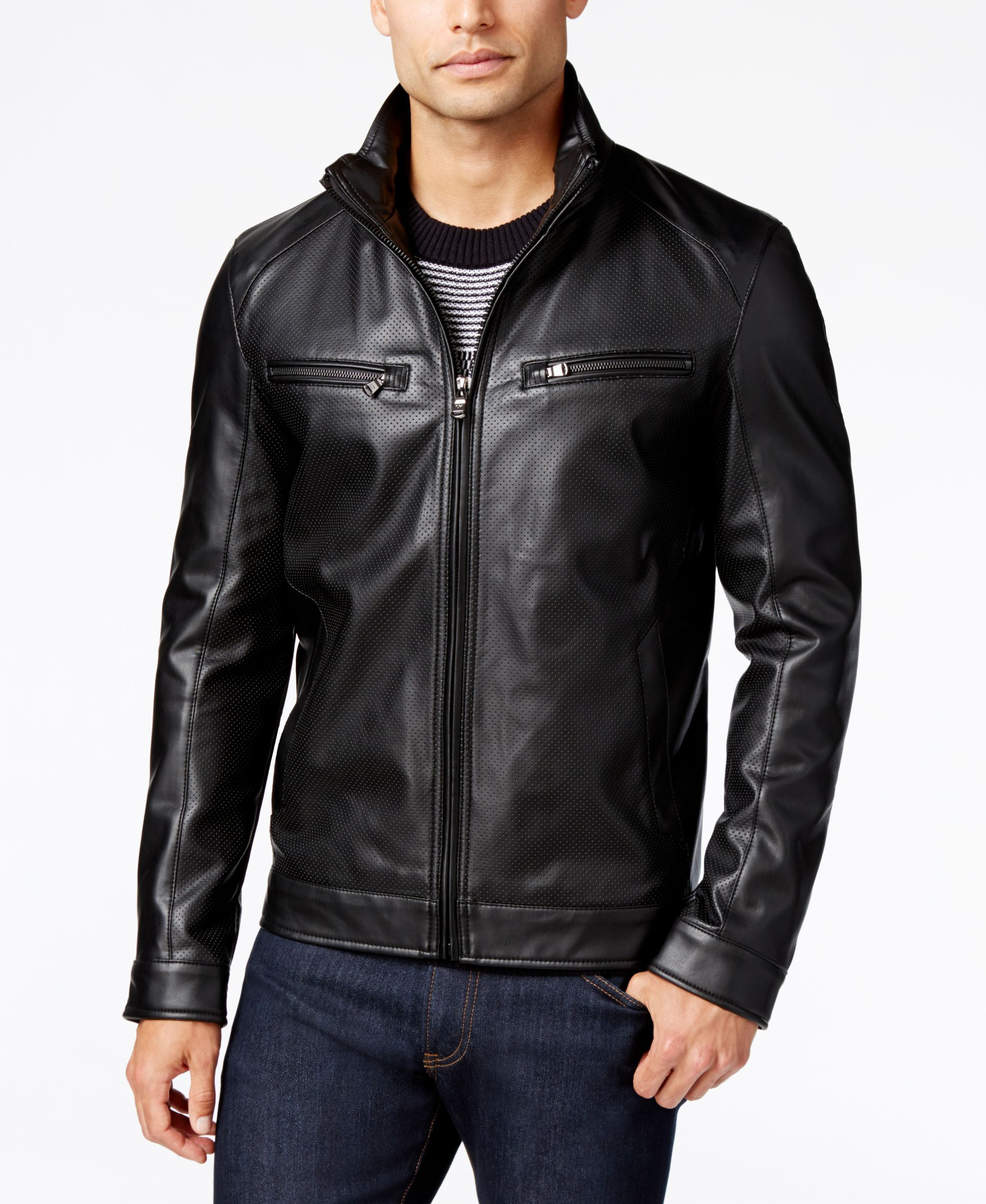 Michael Kors Men's Perforated FauxLeather Moto Jacket