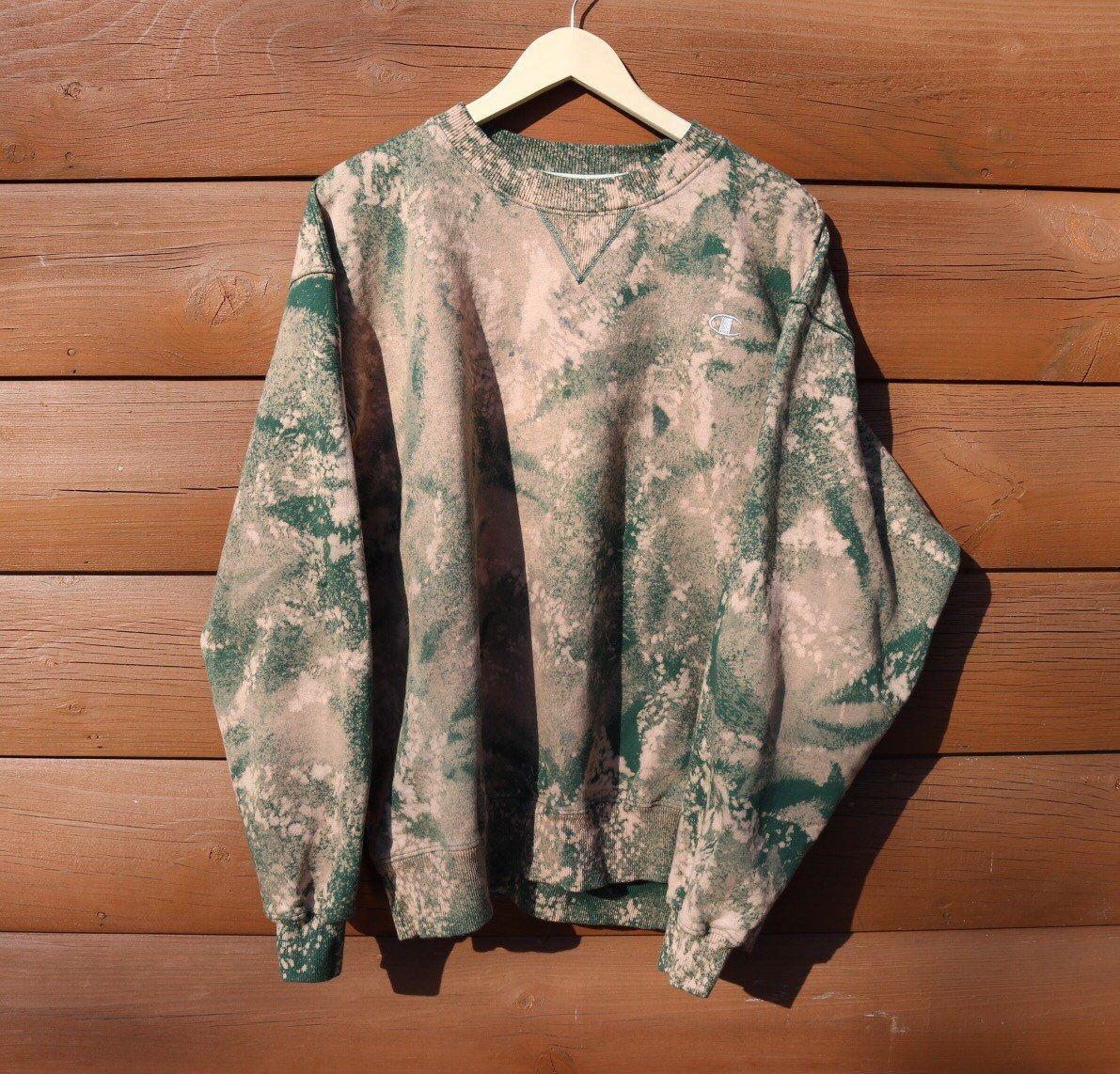 Champion sweatshirt green custom bleached distressed