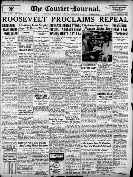 0a379ae40a65 Repeal of Prohibition headline from The Courier-Journal December 5 ...