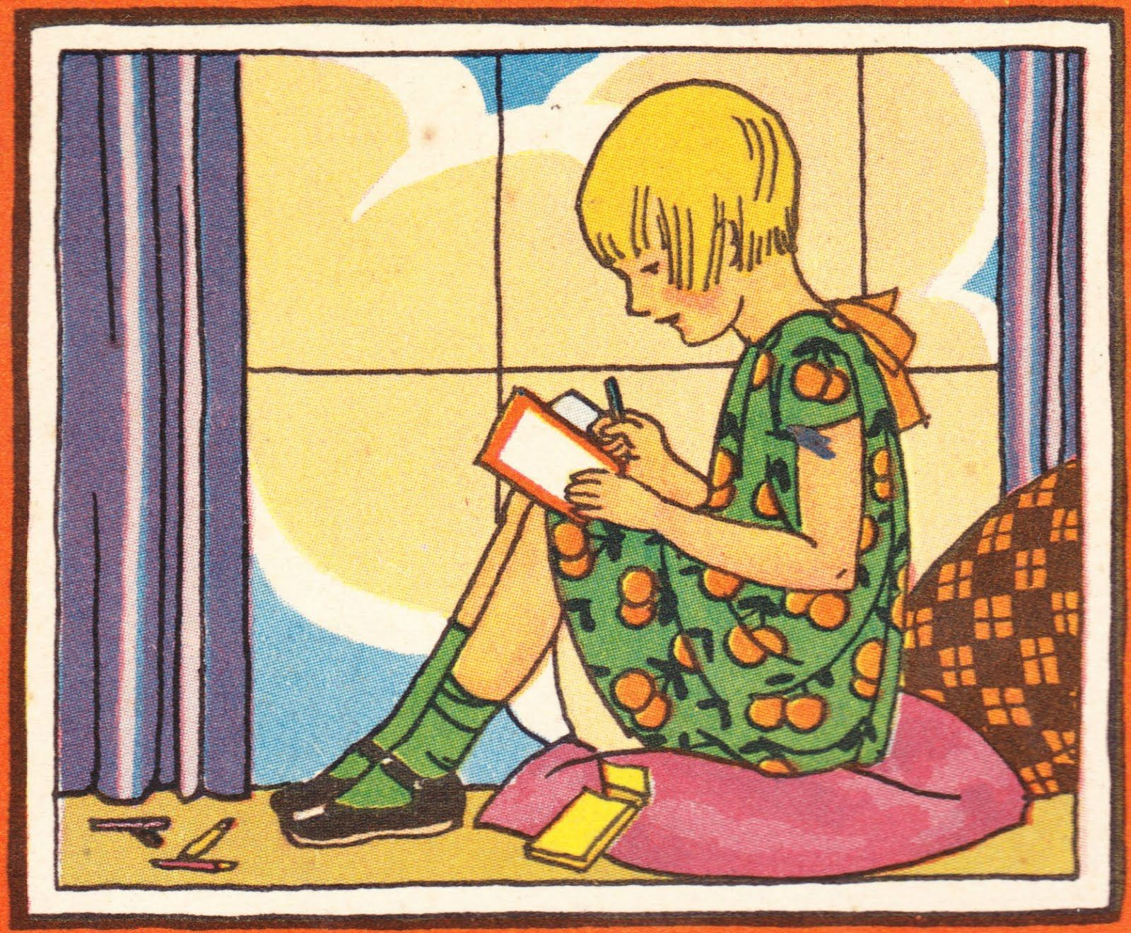 """Illustration by Electra Papadopoulos from the Quaker Oats Book """"Around the World with Hob"""", 1929..."""
