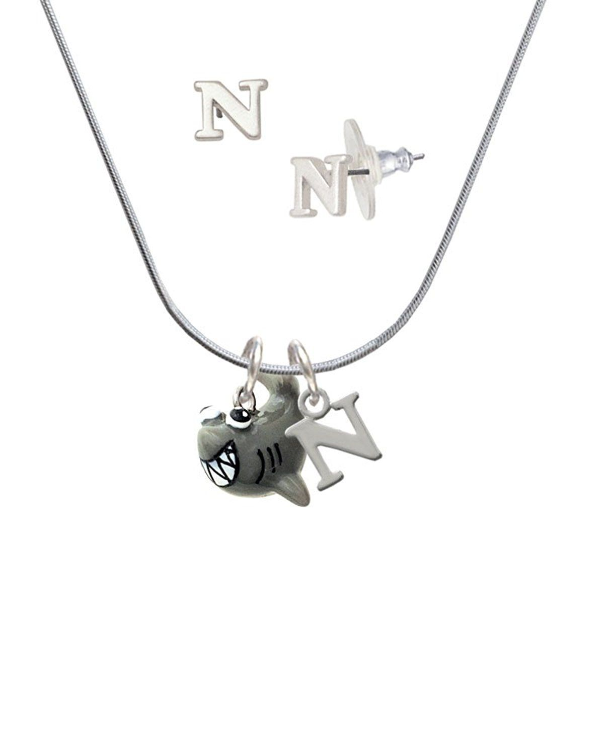 Resin shark n initial charm necklace and stud earrings jewelry set