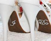 I DO and ME Too Bridal Shoe Sticker, Silver Crystal Sticker I Do for Bridal Shoes, Rhinestone Applique I Do Wedding Shoes Accessory from VioGemini