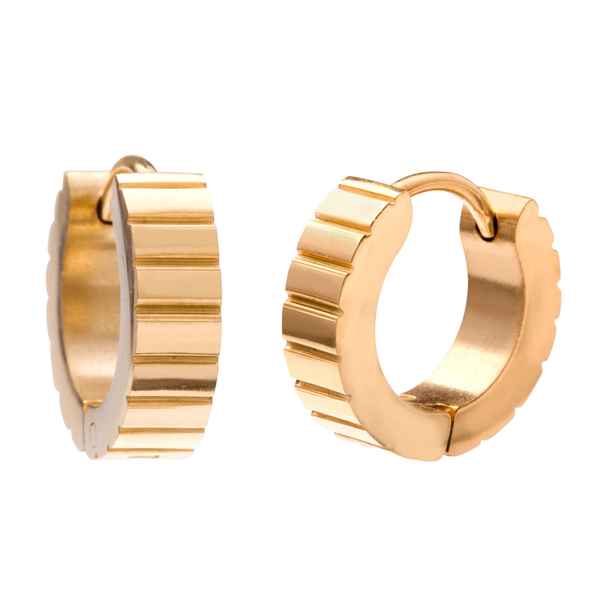 Men's Hinged Hoop Earrings In Gold Finish Stainless Steel