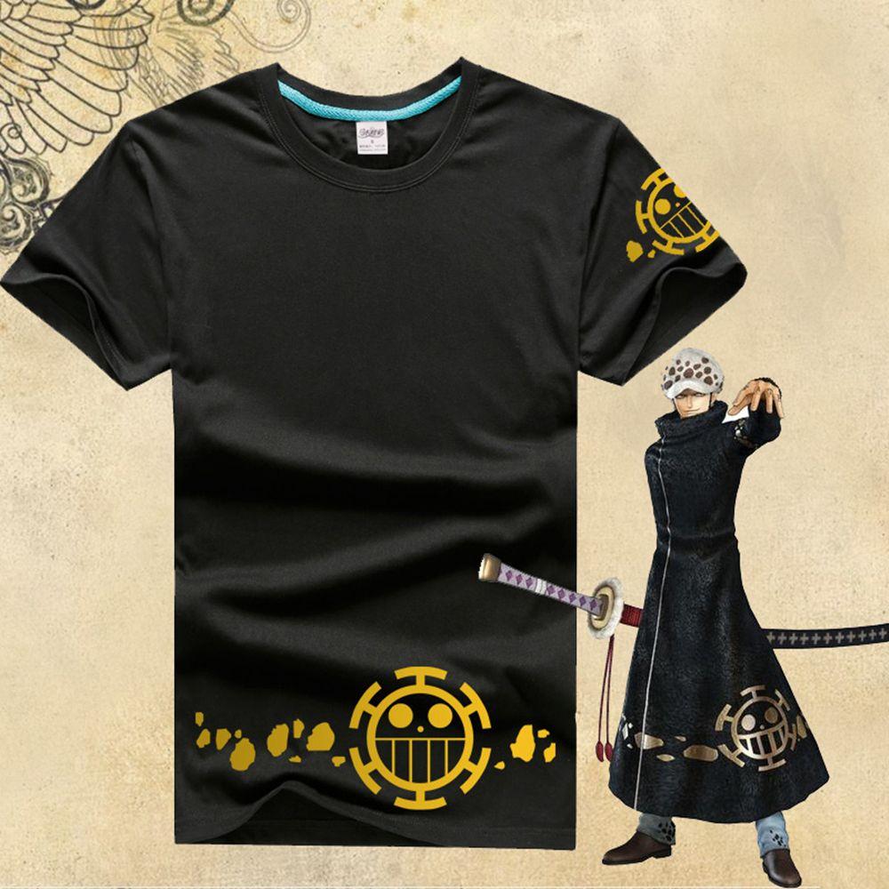 Japanese anime one piece t shirt trafalgar law logo shirt