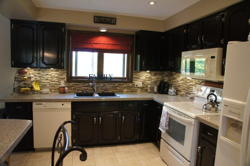 Kitchen Remodel White Cabinets Black Appliances | Stained ...