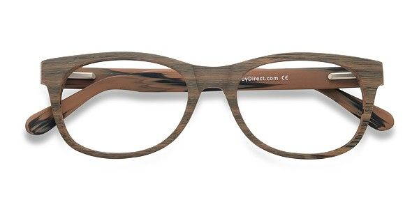 4566d0194b2d Brown Striped Panama - Fashion Wood Texture Eyeglasses