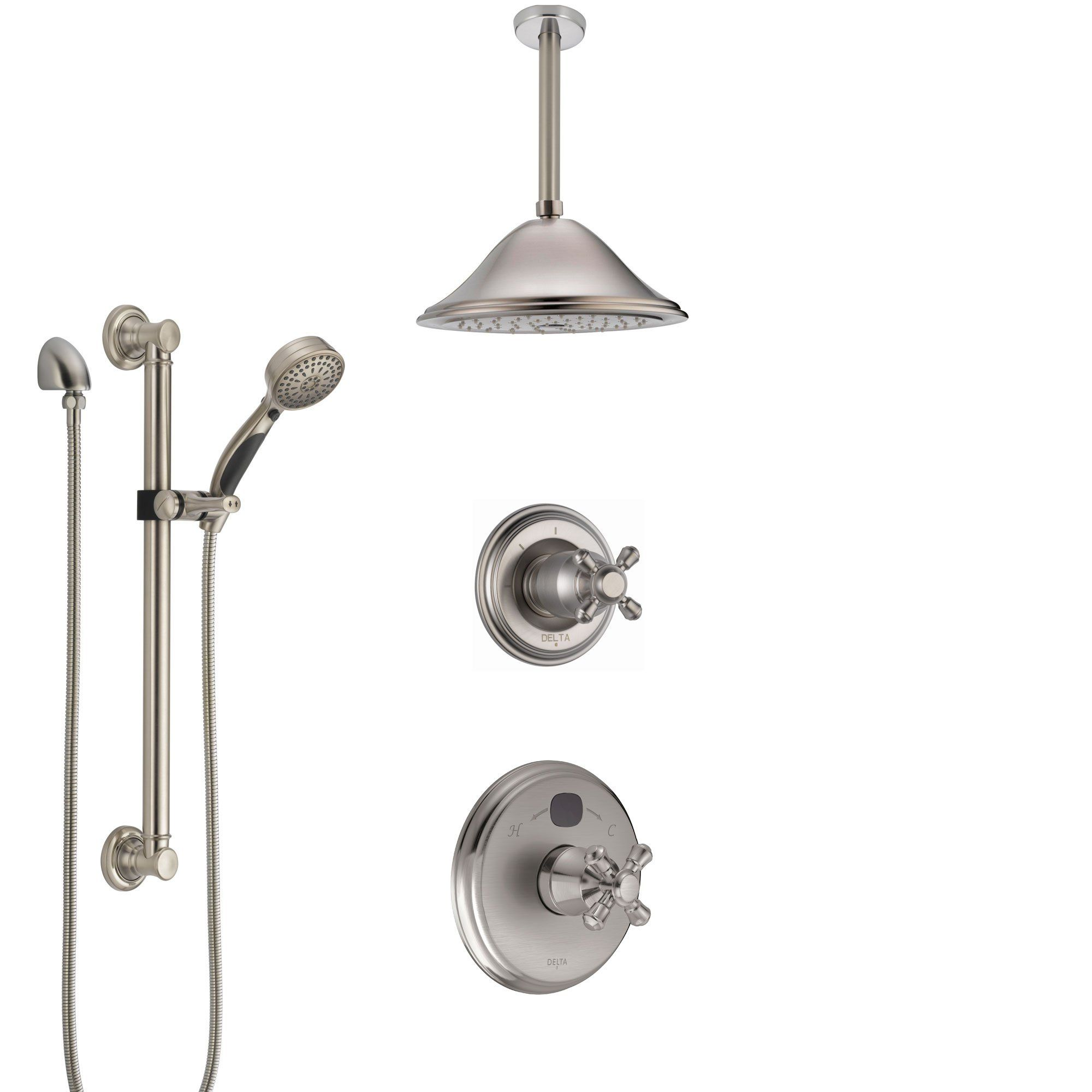 Delta Cassidy Stainless Steel Finish Shower System With Temp2o