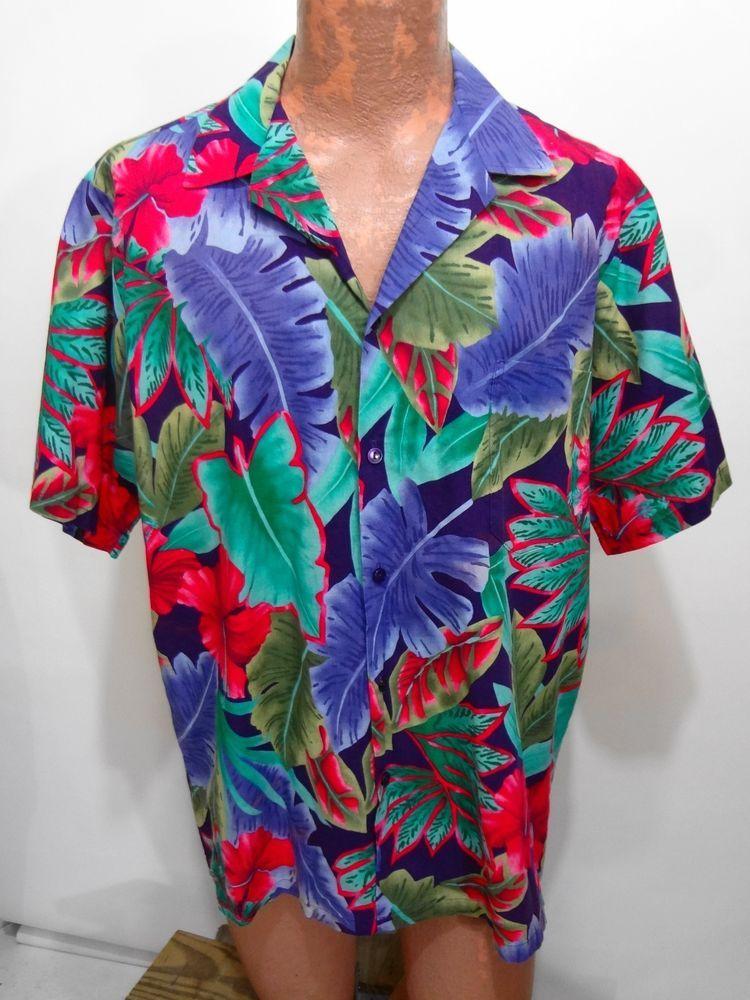 aa7ff149 Hilo Hattie XL Purple Red Green Banana Leaf Hawaiian Short Sleeve Cotton  Shirt #HiloHattie #Hawaiian