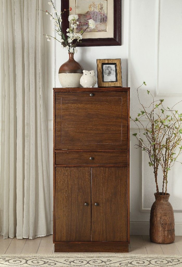 Wiesta Wine Cabinet in Walnut  Acme Furniture 97543 Wine cellar ideas and inspirations Wine cellars are dreams of luxury that many homeowners dont even think about But if...