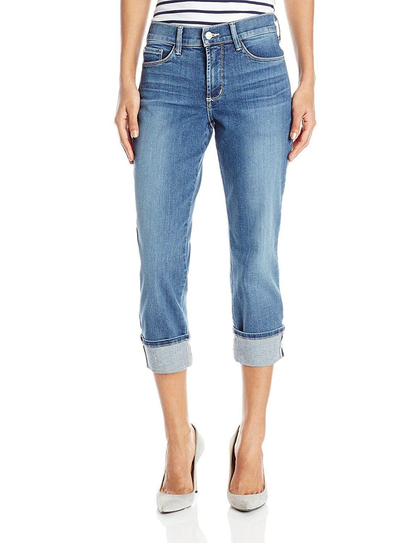NYDJ Womens Petite Size Dayla Wide Cuff Capri Jeans