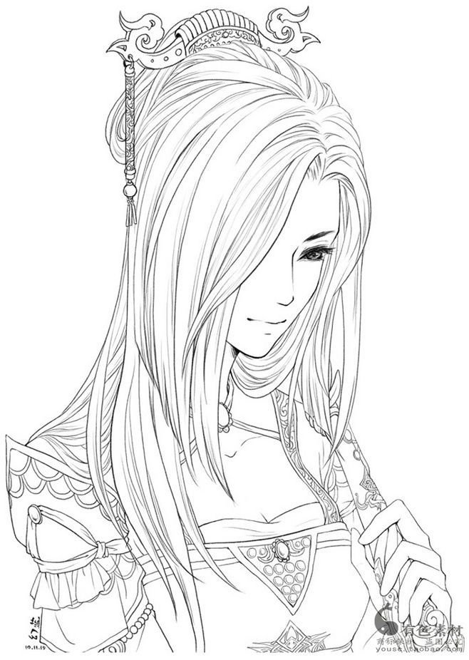 Download Classic Chinese Portrait Coloring Book Pdf Printable Hd Cute Coloring Pages Coloring Books People Coloring Pages
