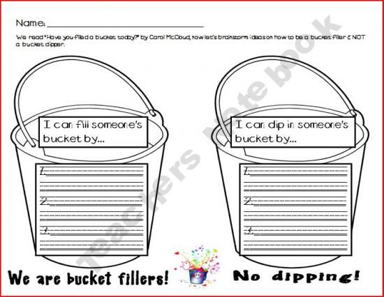 Bucket Filling Brainstorming Great for group counseling on