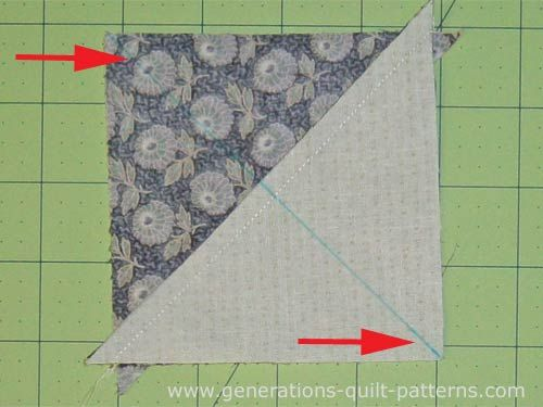 For making Ohio Star quilt block.  Mark the diagonal of two of the HSTs