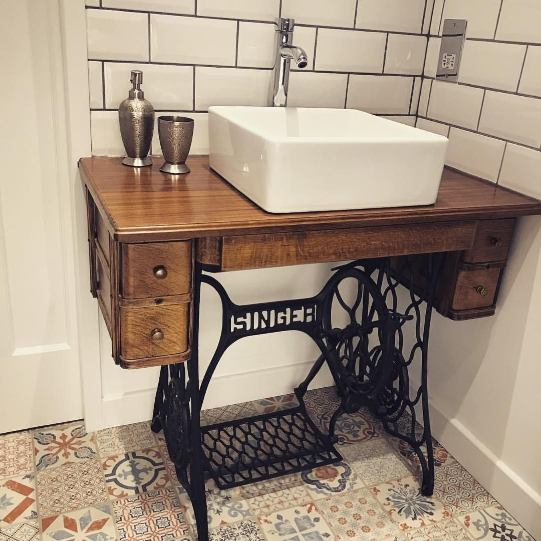Great Upcycle From Handlebarmoustache Transformed An Old Singer Sewing Machine Into A Bathroom Sink Repurposedfurnitureforbathroom