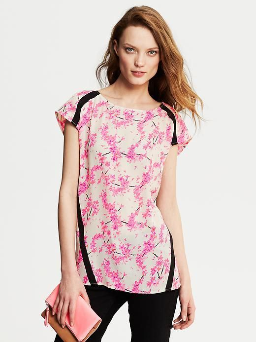 a2652793 Banana Republic Framed Pink Floral Top on shopstyle.com | Clothing ...