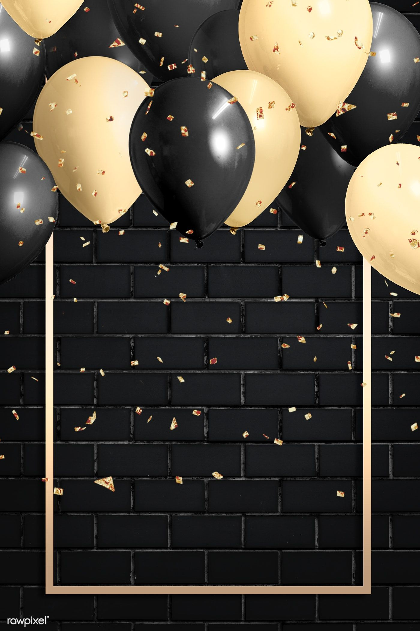 Golden Rectangle Balloons Frame Design Premium Image By Rawpixel Com Hwangmangjoo Balloon Frame Happy Birthday Frame Happy Birthday Wallpaper