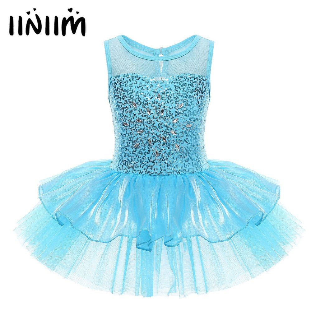 Ballerina Costume for Kid Girl Sequin Dance Gymnastic Ballet Leotard Tutu Dress