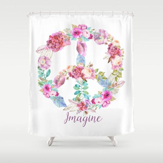 Peace Sign Shower Curtain Imagine By ArtfullyFeathered