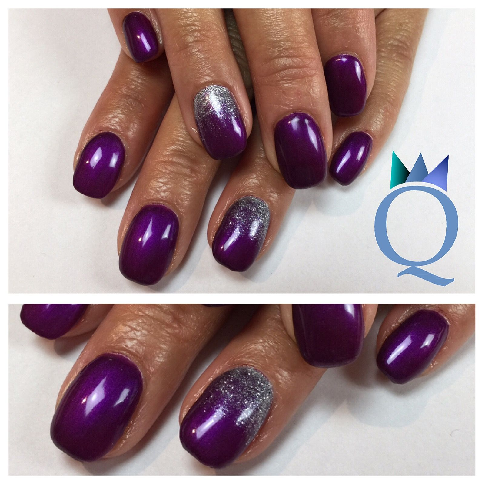 Shortnails Gelnails Nails Purple Silver Glitter Kurzenagel
