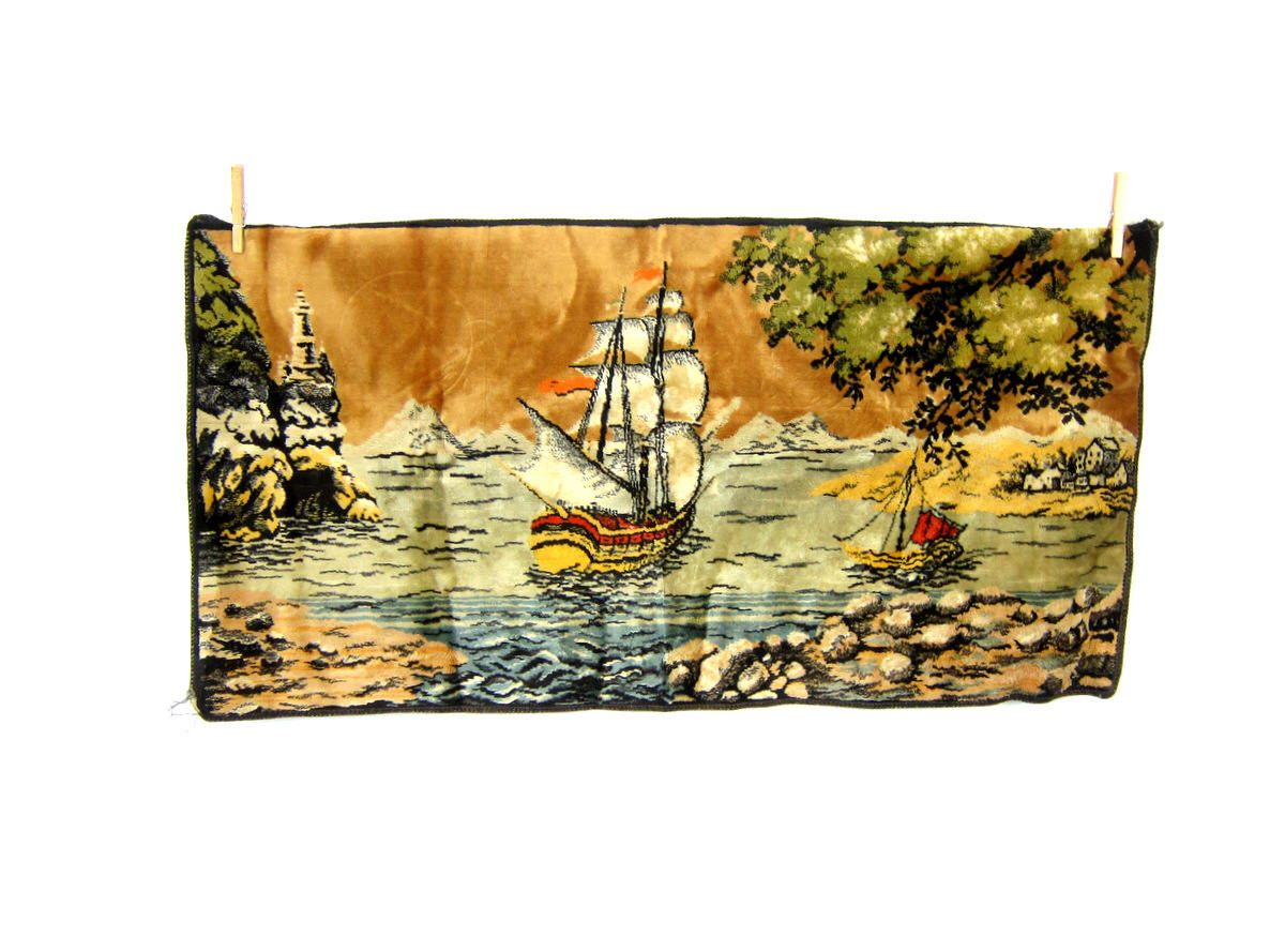 1970s Ship Tapestry Wall Hanging Retro Kitschy Home Decor Hipster ...