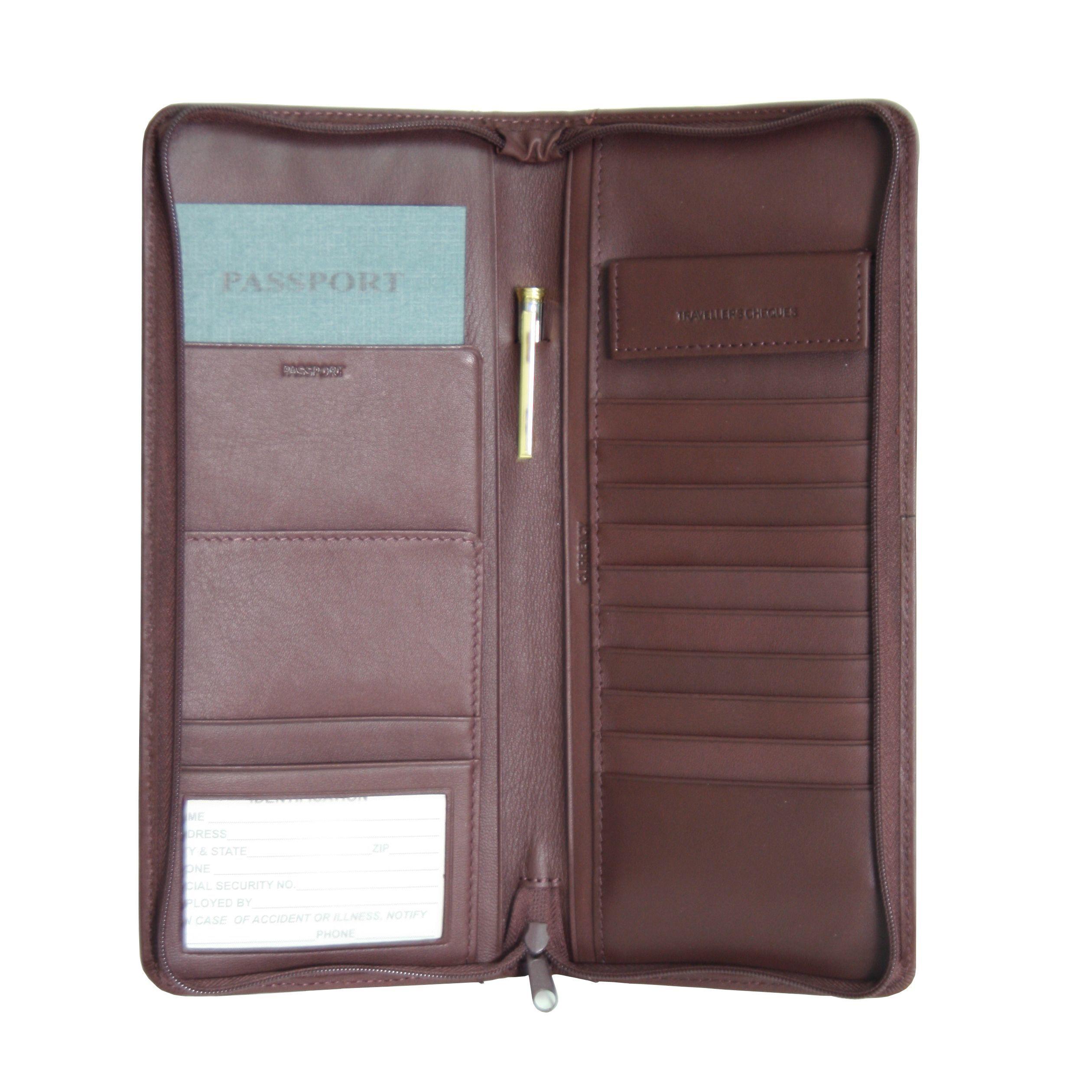 Royce executive zippered travel document passport genuine