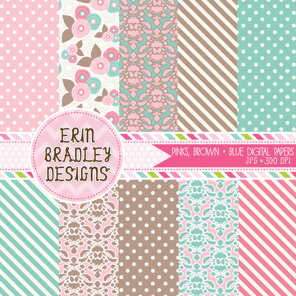 Instant Download Pink Blue & Brown Polka Dotted Striped and Damask Digital Papers Personal & Commercial Use Graphics
