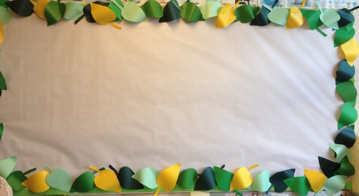 Leaf border. Made from cut up paper, ready for our Very Hungry Caterpillar display.