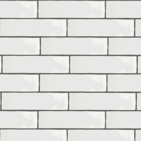 Mileto Brick White Gloss Ceramic Wall Tile 75 X 300mm Tiles