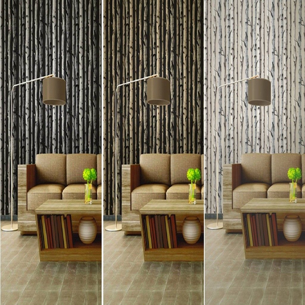 Tree Design Wallpaper Living Room Interior Exquisite Birch Tree Woods Branches Jungle Forest