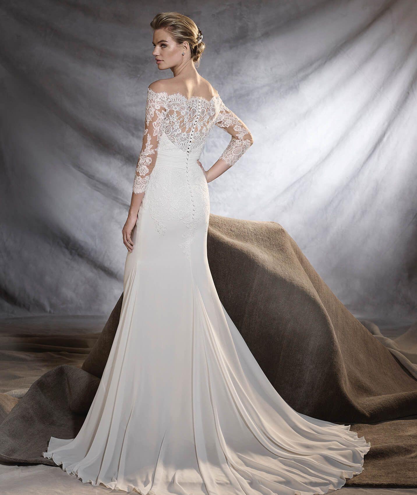 Orsa gauze tulle and lace wedding dress pronovias womenus
