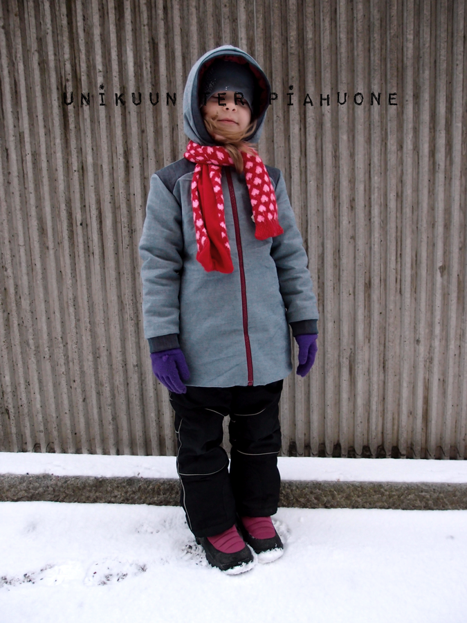 Freezing greeting from Finland!  Warmly lined winter jacket by Unikuun terapiahuone