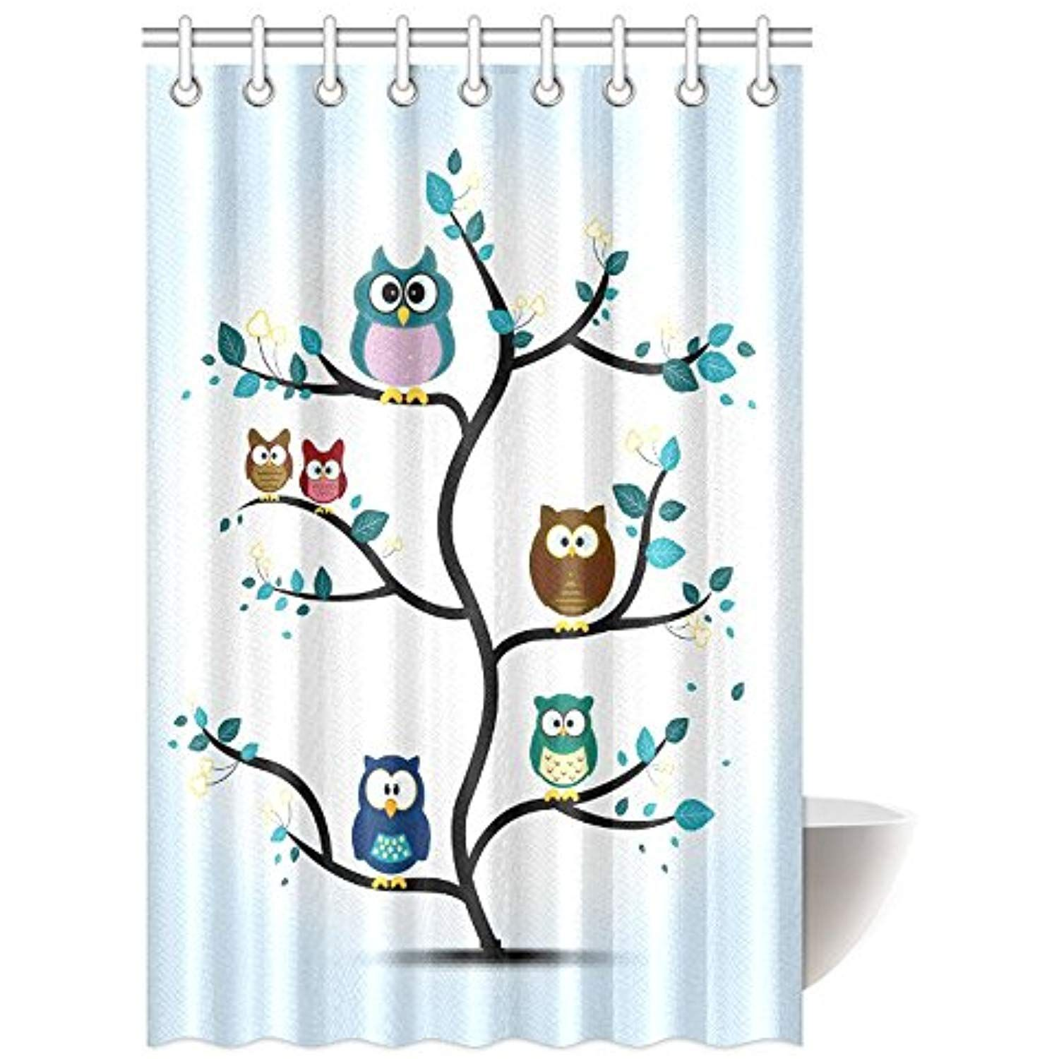 Interestprint Owls Home Decor Shower Curtain Funny Owls Perched