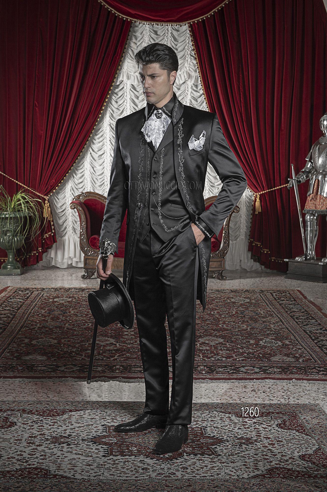 Matrimonio Bohemien Uomo : Abito da cerimonia uomo in raso nero ricamato nero e argento