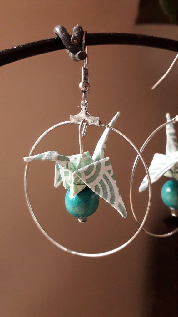 Photo of Boucles d'oreilles grue origami