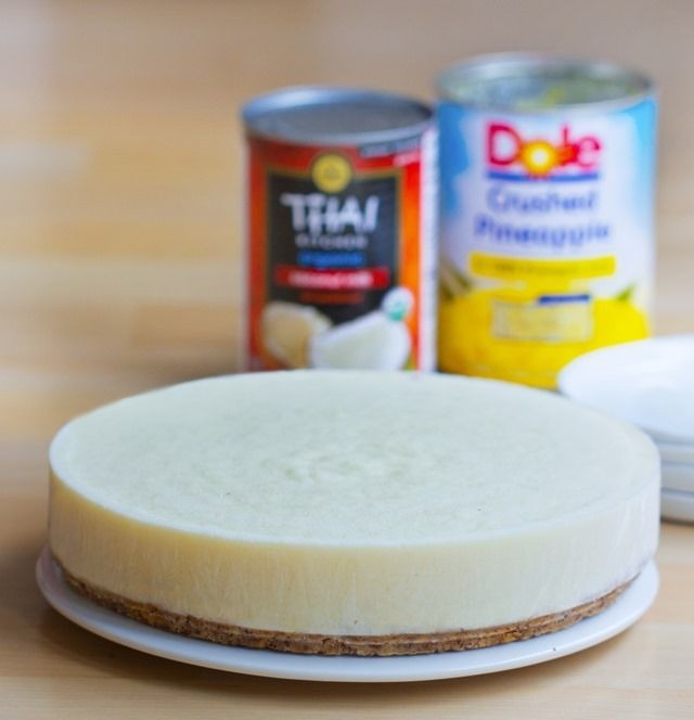 This is really easy! Just open the cans and mix everything together, pour into a pan, and chill. 5 minutes and you're done! Full recipe: http://chocolatecoveredkatie.com/2015/08/20/5-minute-pineapple-fantasy-pie/