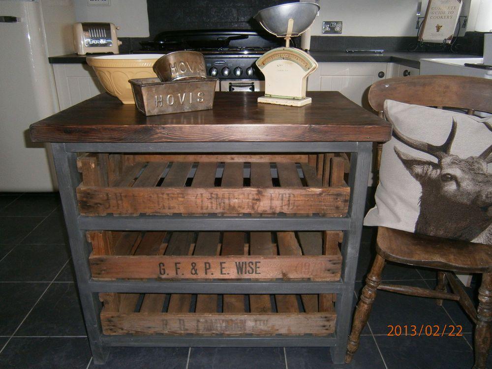 Dark Wood Country Kitchen dark wood handmade rustic country kitchen island butchers block