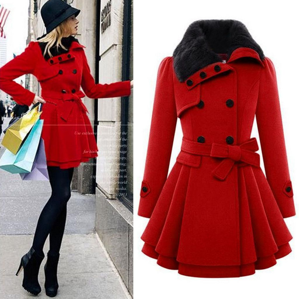 Womens Faux Fur Collar Thicken Wool Blend Winter Long Coat Jacket Outwear Parkas