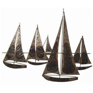 Metal Wall Art Sailing Boats Beach House Accessories Metal