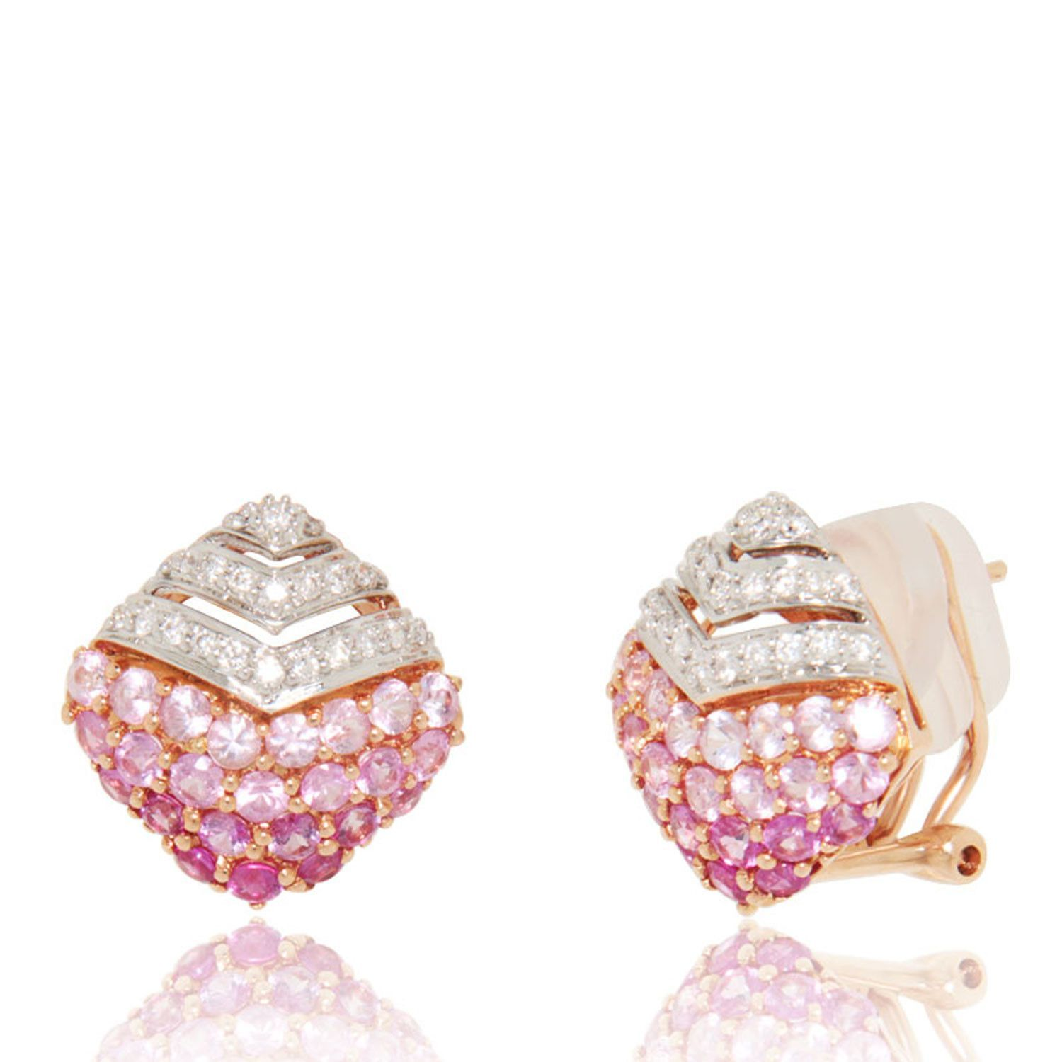 8a53f1ed6a7 Diamond Shaped Earrings starting with Diamonds (0.30 ct) at the top and  degrading Pink Sapphires (1.81 ct) at the bottom. 18k Rose Gold Earrings