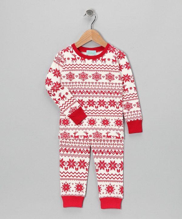 Take a look at this Red  Cream Fair Isle Pajama Set - Toddler