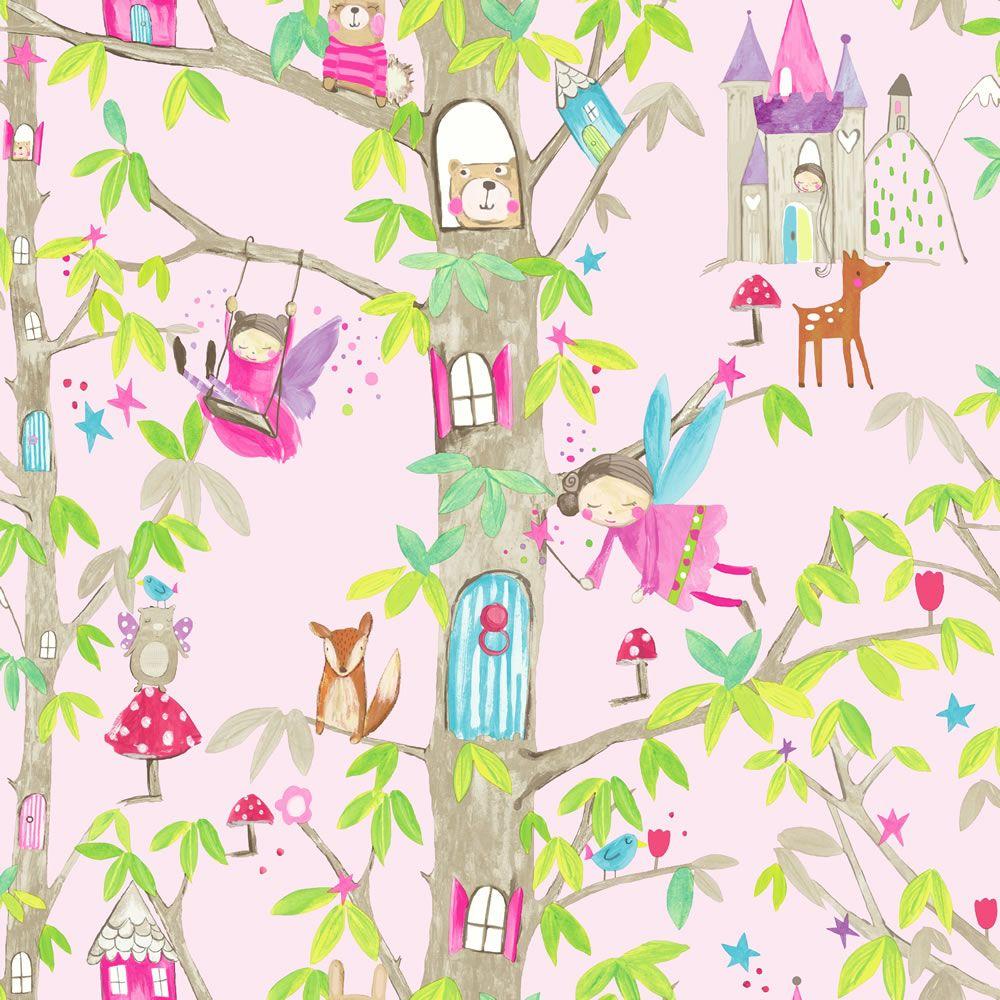 Arthouse Woodland Fairies Pink Kids' Wallpaper Fairy