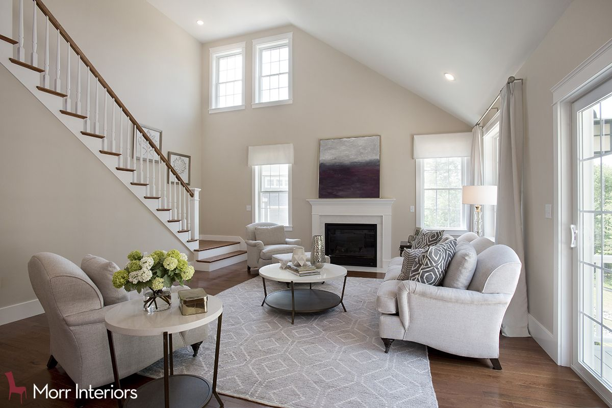 This Contemporary Style Living Room Is Located In Concord Ma Light Colors And A Dark Floor Really Make Home Look Clean Design Interiordesign