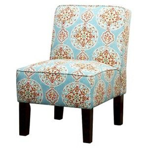 Exceptional Burke Armless Slipper Chair   Blue/Orange Medallion