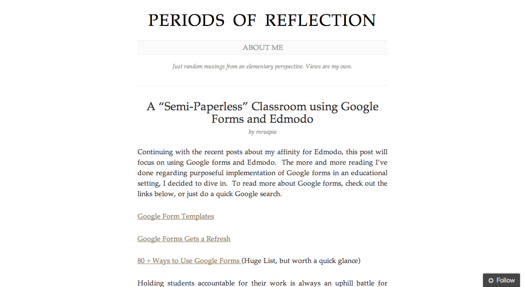 """A """"Semi-Paperless"""" Classroom using Google Forms and Edmodo"""