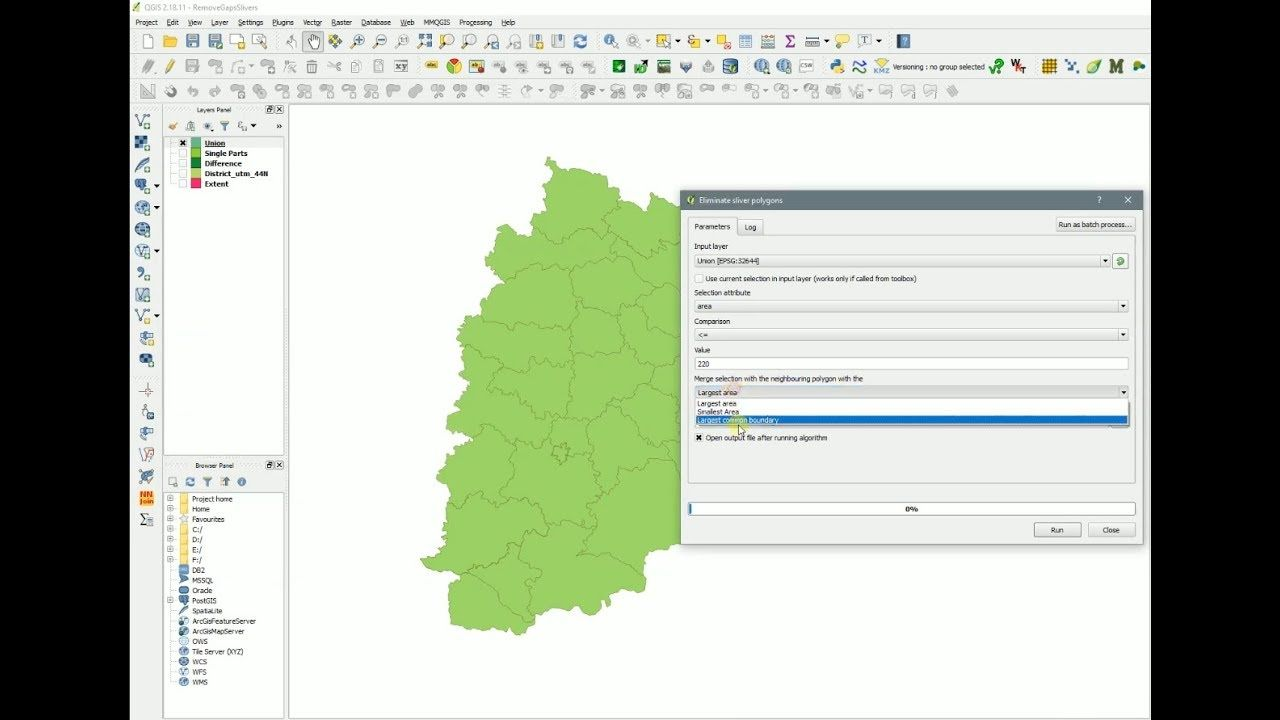 QGIS Fill gaps and slivers between polygons Eliminate Sliver