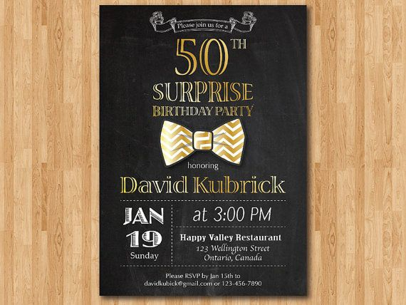 50th Birthday Invitation For Men Bowtie Little Man Invite Gold Blue Green Any Other 60th 70th