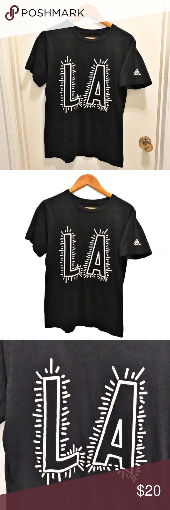 Adidas The Go To Tee La Black White Shirt Medium Black And White Shirt Black Shirt Shirts