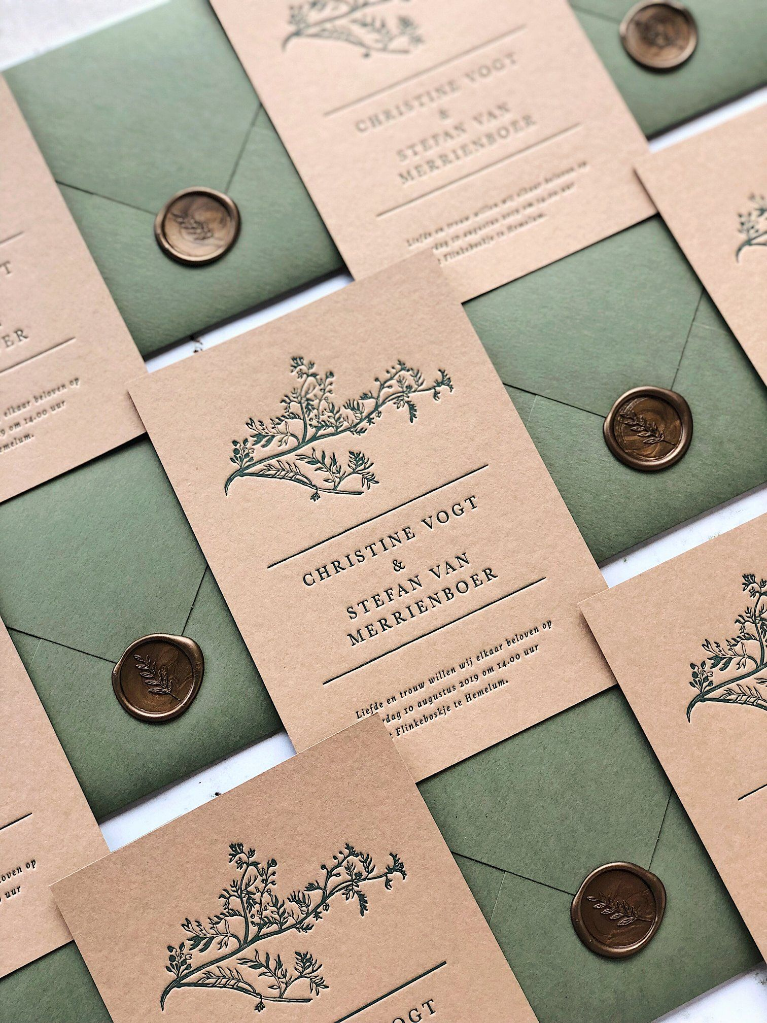 Nature Inspired Letterpress Wedding Invitation On Sand Card Stock