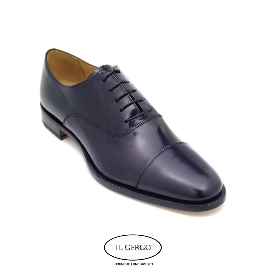 Il Gergo Cattolica Oxford shoe in navy blue polished leather ...