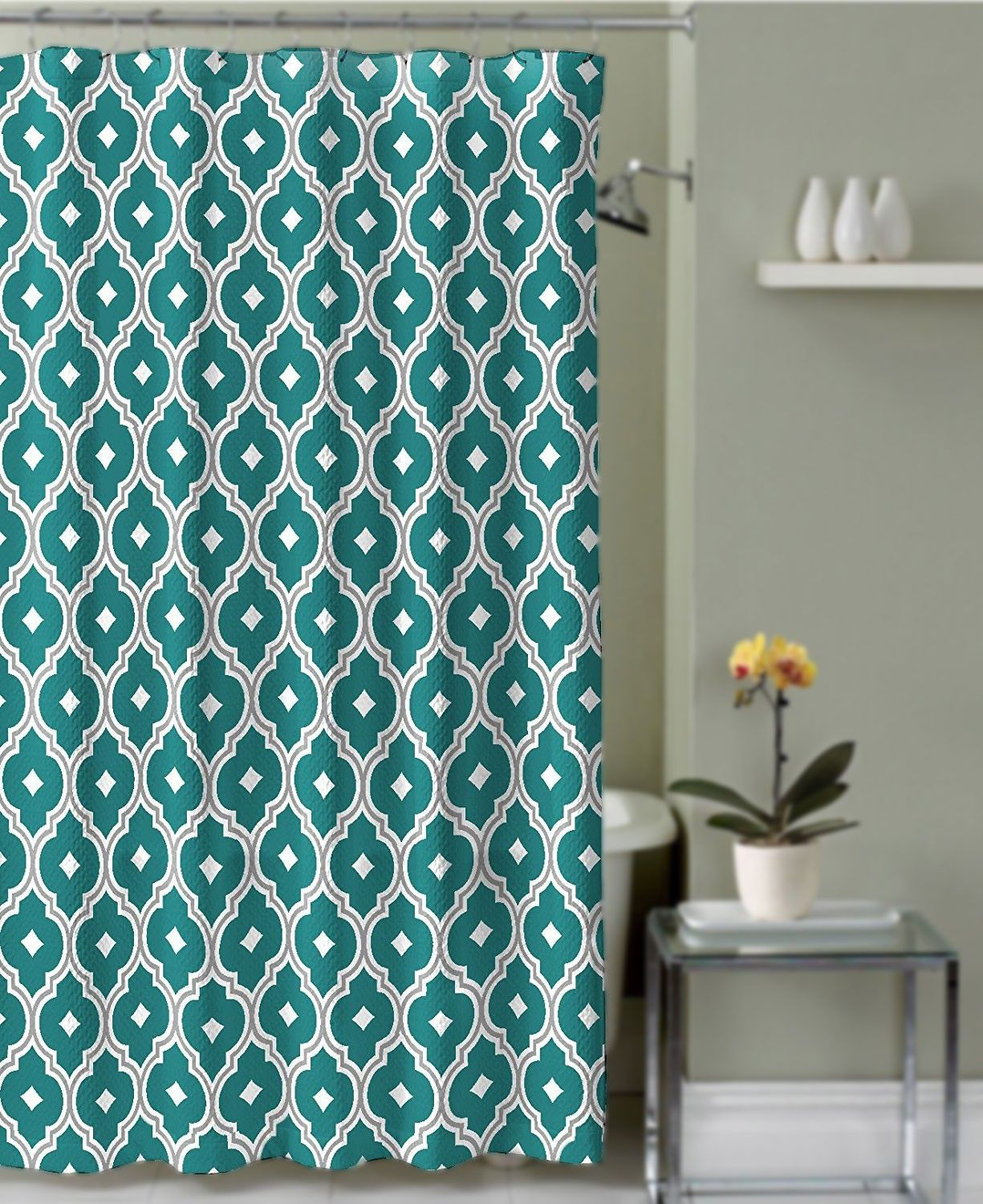 Crest Home Renard Fabric Shower Curtain Teal And Grey Quatrefoil